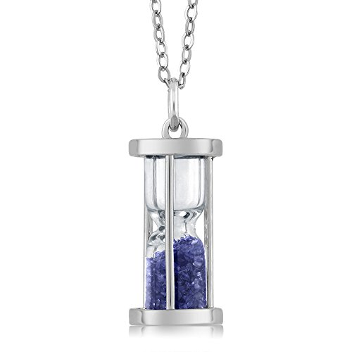 "Sterling Silver Hourglass Pendant Necklace with 0.75 Ct Sapphire Dust Gemstone Birthstone and 18"" Silver Chain"