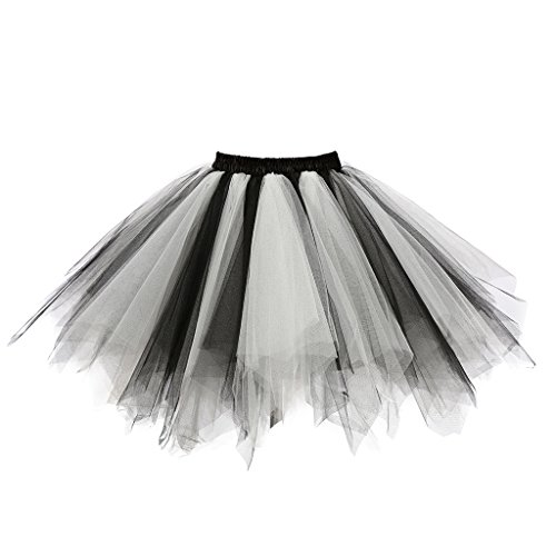 Musever 1950s Vintage Ballet Bubble Skirt Tulle Petticoat Puffy Tutu Black/White Small/Medium