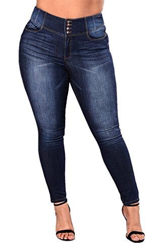 Womens High Waist Butt Lift Stretch Pull-on Skinny Jean Slim Denim Jegging Blue, Blue, US 14  (tag size ()