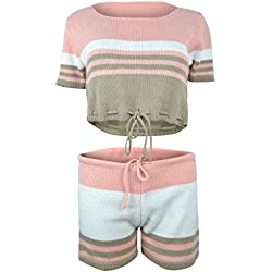 Creazrise Womens Two Pieces, Women Color Striped Short Sleeve Knit T-Shirt Shorts Outfit Set Sports Suit (Pink,XL)
