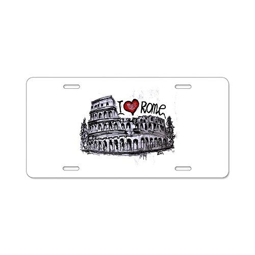 CafePress - I Love Rome - Aluminum License Plate, Front License Plate, Vanity (Rome Plate)