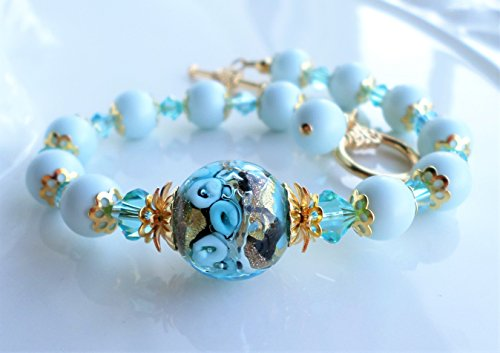 Aqua Blue Murano Glass Bracelet With Light Blue Swarovski Pearls (Bracelets Murano Aqua)
