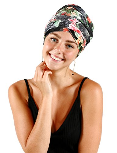 Pretty Simple Luxury Turban Floral Velvet Head Wrap Extra Long Scarf Tie, Gray by Pretty PS Simple (Image #4)