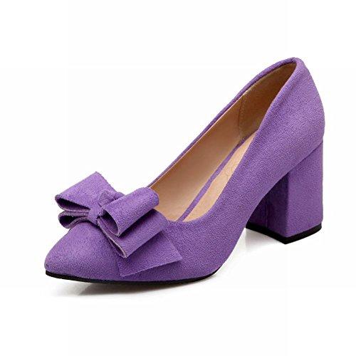 Latasa Mujeres Sweet Bow Nubuck Con Tacón Medio, Informal, Zapatos De Tacón Alto, Zapatos De Color Púrpura