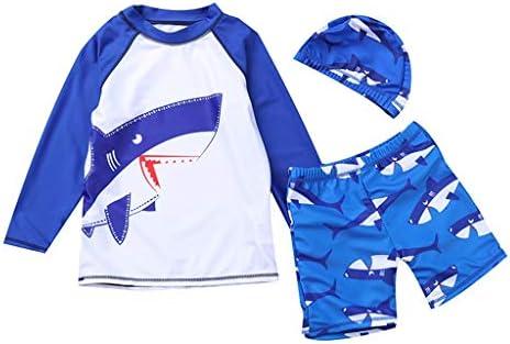 ボーイズ 男の子 水着 キッズ 長袖シャツ 帽子 パンツ サメ柄 プリント 出産祝い 3点セット ラッシュガード セパレート 日焼け止め プレゼント