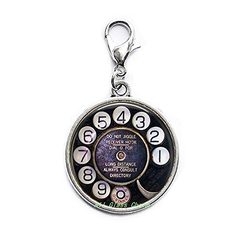 AllGlassCharm Old Telephone Dial-Nostalgic Jewelry-Telephone Dial Lobster Clasp-Telephone Zipper Pull-Payphone-Old Technology,AS057 (Dial Jewelry Clasp)
