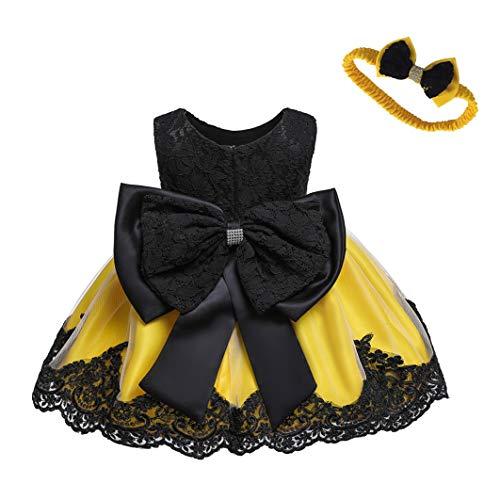 LZH Baby Girls Formal Dress Bowknot Baptism Embroidery Tutu Dress with Headwear(Black&Yellow,24M/18-24 Months) ()