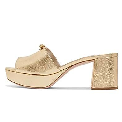 159e6ad8e YDN Women Casual Peep Toe Platform Chunky High Heel Summer Slide ...