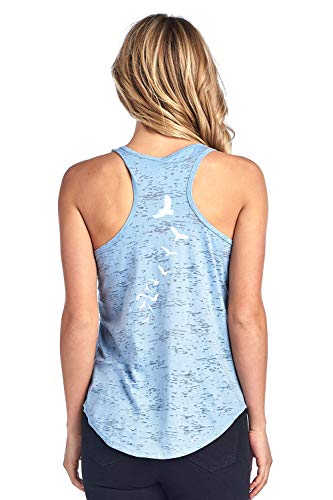 Tough Cookie's Women's Back Print Birds Burnout Tank Top (Small - LF, Dusty Blue)