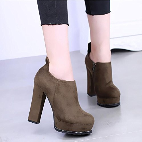 KHSKX-The Winter Round High-Heeled Boots With Thick Green Suede Boots Waterproof Boots Martin 11.5Cm Taiwan Thick Soled Boots Thirty-seven BaMzO7