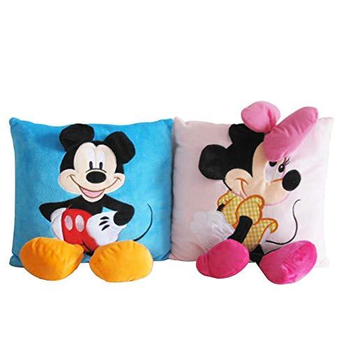 SJSXT 2pcs 3535cm Mickey Mouse and Minnie Plush Pillow Cushion,Cartoon Mickey Mouse and Minnie Pillow Car Cushion (Mickey Mouse Toys For 1 Year Old Uk)