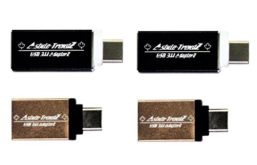 Lightning Strike - USB to USB 3.1 Gen 1 SuperSpeed OTG Adapters for Micro USB Type-C Compatible Devices Like MacBook, ChromeBook, Android Tablets, SmartPhone's and More (Black & Gold 4-Pack)