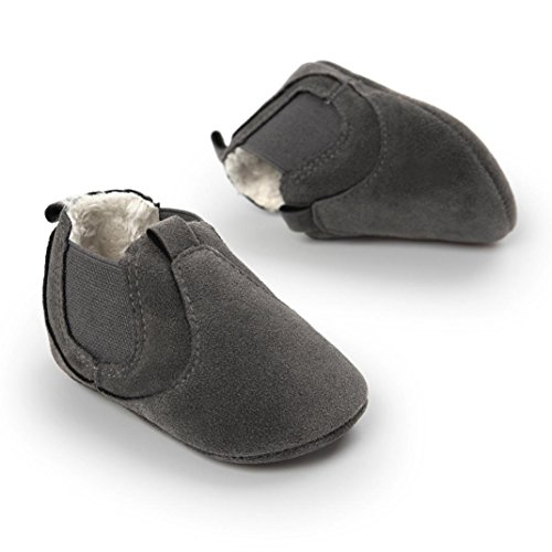 Clode® Kleinkind Baby Jungen Mädchen Plüsch Soft Sole Anti Rutsch Stiefel warme Dark Grey