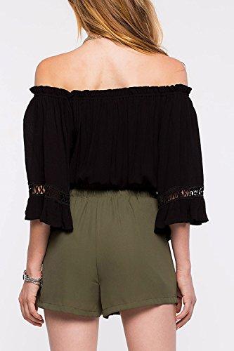 Mujeres del hombro ahuecar camisas moda T Black