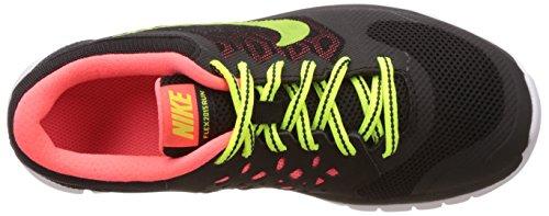 Nike Flex 2015 Run (Gs), Unisex Kids' Multisport Indoor Shoes BLACK/HOT LAVA/WHITE/VOLT