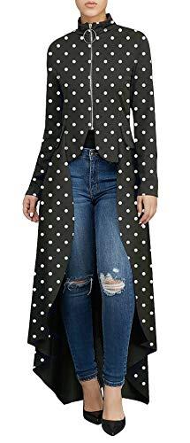 Women's Fashion High Low Tops - Unique Irregular Zipper Front Dot Print Long Sleeve Tunic Shirt Small Black ()