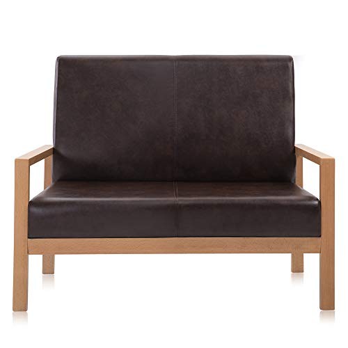 (Krei Hejmo Wooden Armchairs Sofa Couch with Vinyl Leather (Loveseat, Natural Finish Wood/Chestnut Brown)