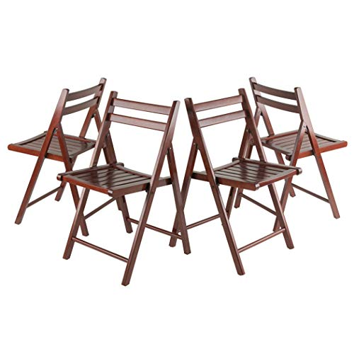 Wood & Style Premium Décor 4-PC Folding Chair Set Walnut, used for sale  Delivered anywhere in USA