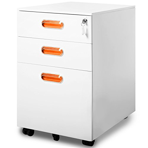 Modern Luxe by Merax 3 Drawer Mobile File Cabinet Solid Metal Rolling Cabinet Fully Assembled Except Casters (White and Orange) by Merax.