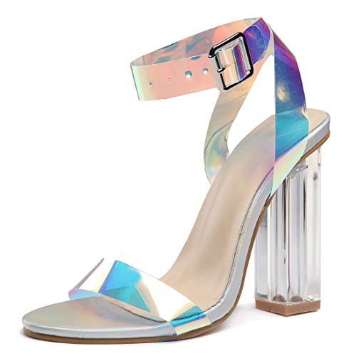 Women's High Heel Platform Dress Pump Sandals Ankle Strap Block Chunky Heels Party Shoes - Holographic ()
