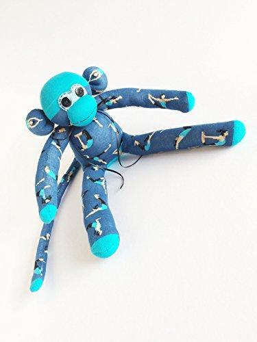 Yoga Love Sock Monkey - Sock Monkey - Yoga Sock Monkey - Yoga Lover - Blue Sock Monkey - Yoga Gifts- Ashtanga - Hatha - Shaivism Yoga by Missy's Monkeys LLC
