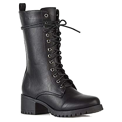 ESSEX GLAM Womens Lace Up Mid Calf Chunky Block Low Heel Boots Ladies Grip Sole Platform Combat Shoes 1