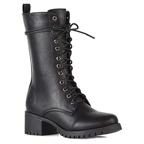 ESSEX GLAM Womens Mid Calf Military Booties Ladies Black Synthetic Leather Chunky Cleated Sole Low Mid Block Heel Zip Up Lace Up Combat Boots Shoes 5 B(M) US Black London Calf Boots