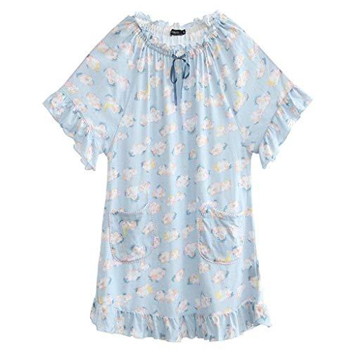 Moderno Redondo Vintage Blau Vestidos Bolsillos Pijamas Verano Camisones Chic Mujer Manga Dormir Cuello Volantes Con Impreso Corta De Camisón Vestido qCAwfR4
