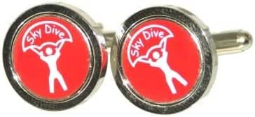 Red Round Sky Diver Cufflinks. (PSC049)