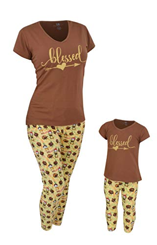 Unique Baby Girls Blessed Thanksgiving Mommy and Me Legging Outfit (Kids 3t) -