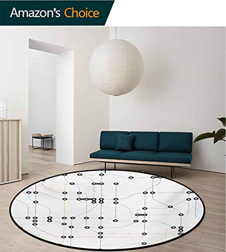 RUGSMAT Map Washable Creative Modern Round Rug,Colorful Thin Lines Metro Scheme Transportation Network Diagram Outline Urban City Life Coffee Table Mat Non-Skid Living Room Carpet,Round-51 - Round Coffee Table Metro