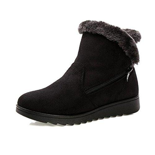 ots for Women Winter Fur Lined Zipper Ankle Booties ()