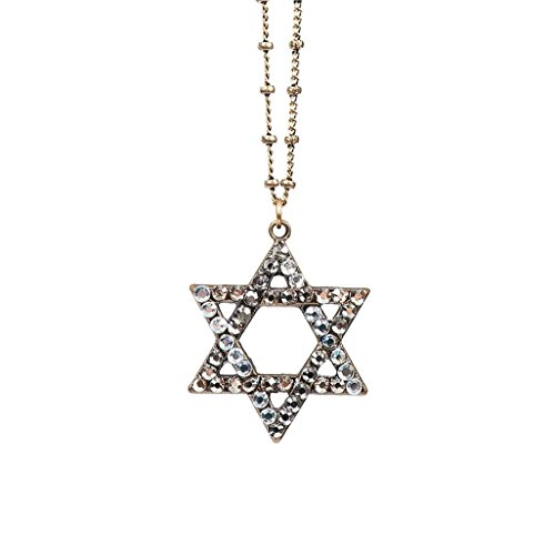Anne Koplik Crystal Golden Swarovski Crystal Star of David Pendant Necklace ()