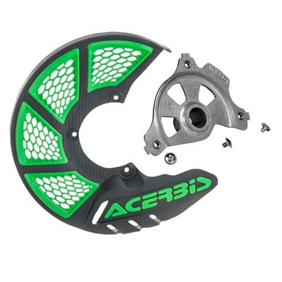 Acerbis X-Brake Vented Front Disc Cover with Mounting Kit Black/Green for Kawasaki KX450F 2006-2018
