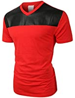 LE3NO Mens Premium Edgy Faux Leather Slub Raglan Short Sleeve T Shirt