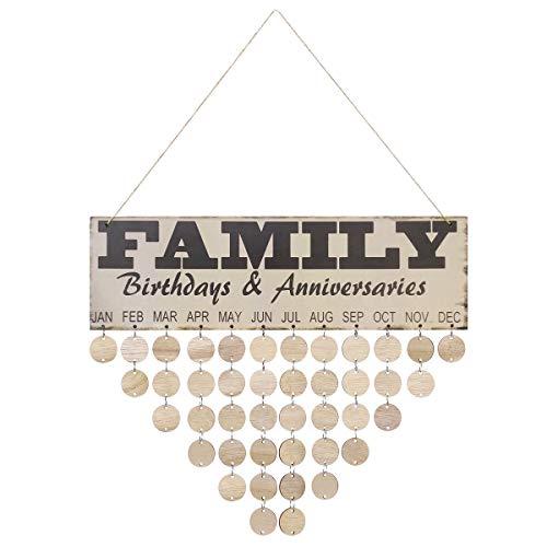 SUPVOX Calendario del Colgante de Madera DIY Recordatorio de Cumpleaños Placa Decorativa Vintage con Rodajas Redondas Family