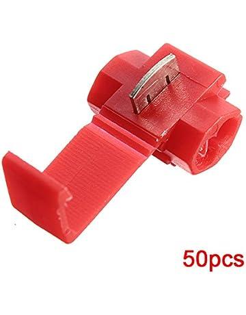 8d47c54ffc9 Sonline Terminales de cables 50pcs rapida Splice Conectores Lock Crimp  electrica electrica - Rojo