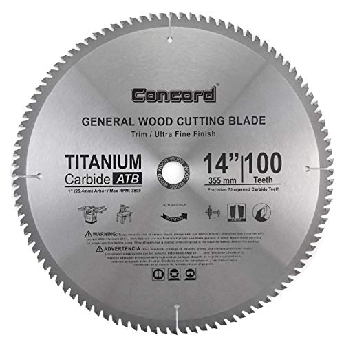 14 Inch 100 Tooth - Concord Blades WCB1400T100HP 14-Inch 100 Teeth TCT General Purpose Hard & Soft Wood Saw Blade