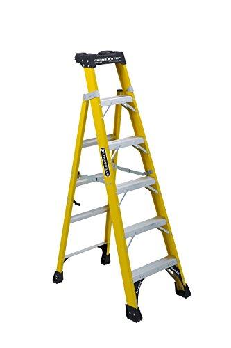 Louisville Ladder FXS1406HD 375 lb Type IAA Fiberglass Cross Step Ladder, Yellow, 6'