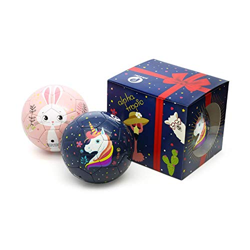 (PP PICADOR Toddler Soft Soccer Ball Cute Cartoon Kids Ball Toy Gift with Pump (Unicorn Bunny Set, Size 1))