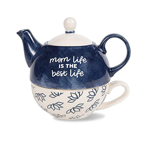 Pavilion Gift Company 85241 Pavilion-Mom Life is The Best Life-15 Oz 8 Oz Teacup Tea for One Teapot and Cup set, 6 Inch Tall, Blue