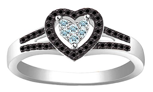 Jewel Zone US Simulated Aquamarine & Black Spinel Heart Shape Promise Ring in 10k White Gold (0.25 Cttw)