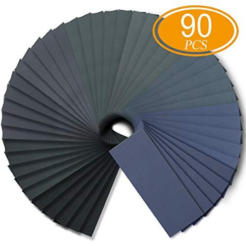 (Wet Dry Sandpaper, Assortment 240-3000 Grit for Automotive Wood Plastic Sanding, 90pcs by FRIMOONY)