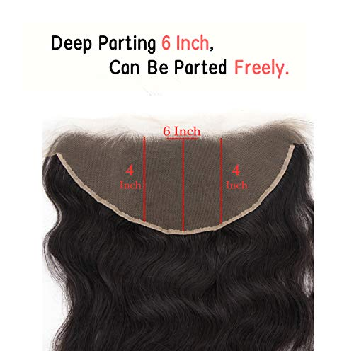 Chantiche 13x6 Frontal Lace Closure with Baby Hair Pre Plucked Brazilian Body Wave Lace Frontal Human Hair Natural Color 18 inches