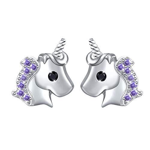 Yearace 925 Sterling Silver Hypoallergenic Cute Cz Unicorn Stud Earrings Jewelry for Women (Nickel Free)