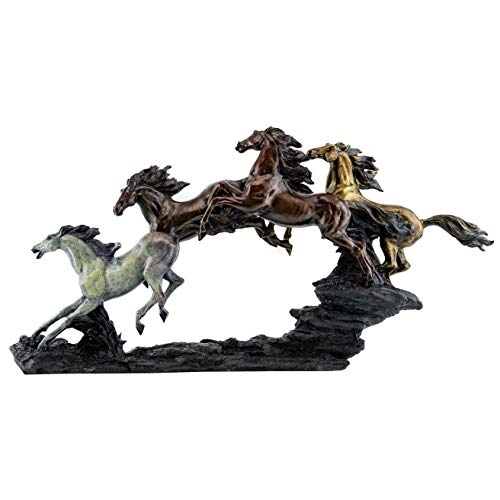 - Top Collection Galloping Wild Stallions Statue - Large Masterpiece Horse Sculpture in Premium Cold Cast Bronze- 26-Inch Long Collectible Museum Grade Mustang Figurine