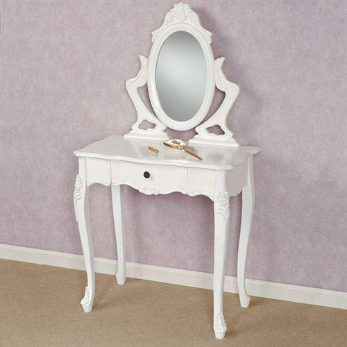 Touch of Class White Wooden Vanity Makeup Dressing Table with Drawer Wood