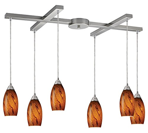 Galaxy 6 Light Pendant in Brown and Satin Nickel