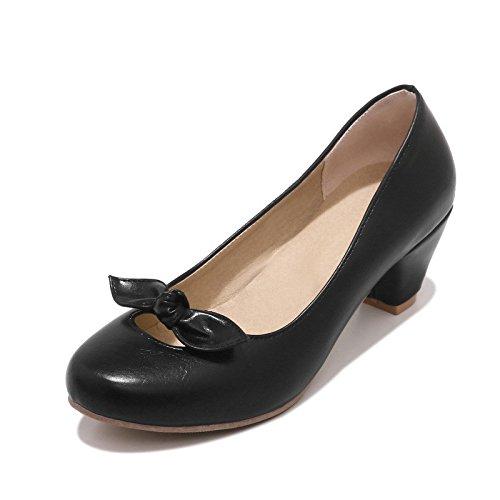 En la primavera de dulce y espeso de cabeza redonda con luz-tai, Pajarita singles femeninos zapatos black