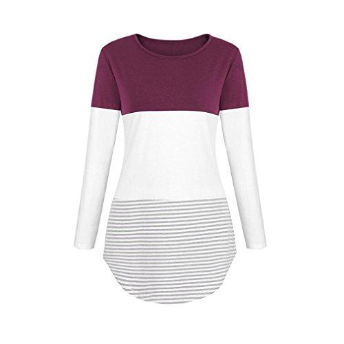 Longues Top Shirt Vif Tunique Rayures Haut Shirt Mode Manches Rose Blouse Femmes T Bringbring t8w6RxqtF